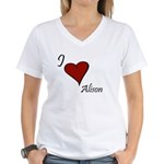 I love Alison Women's V-Neck T-Shirt