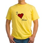 I love Alison Yellow T-Shirt