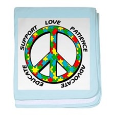 Autism Peace Sign baby blanket