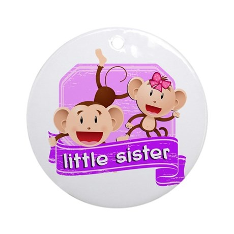 Little Sister Monkey Ornament (Round)