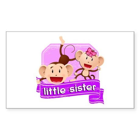 Little Sister Monkey Sticker (Rectangle)