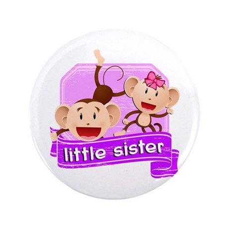 "Little Sister Monkey 3.5"" Button"