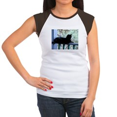 Black Cat on the Porch Women's Cap Sleeve T-Shirt