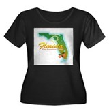 Florida Women's Plus Size Scoop Neck Dark T-Shirt