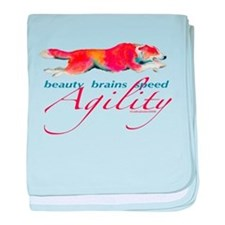 Beauty, Brains and Speed baby blanket