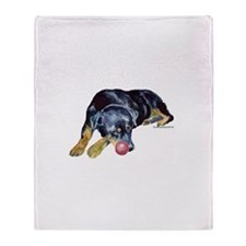 Rottweiller with Ball Throw Blanket