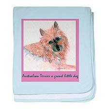 Red Australian Terrier FACE baby blanket