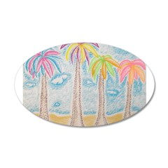 Colorful Palms 35x21 Oval Wall Decal