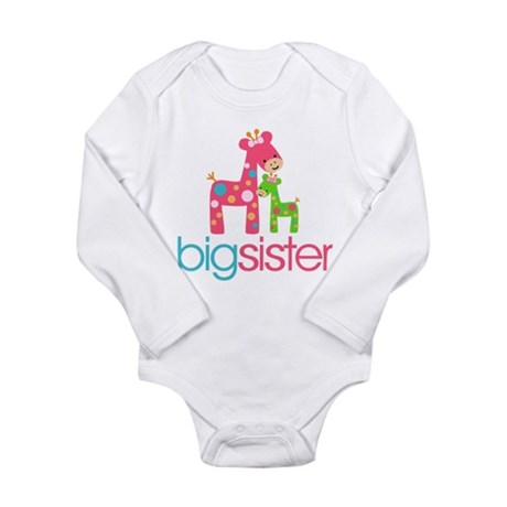 Funky Giraffe Big Sister Long Sleeve Infant Bodysu