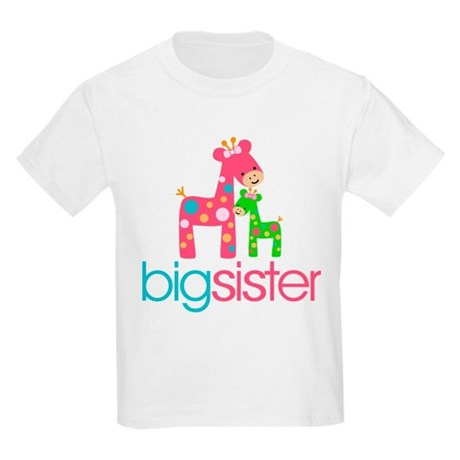 Funky Giraffe Big Sister Kids Light T-Shirt