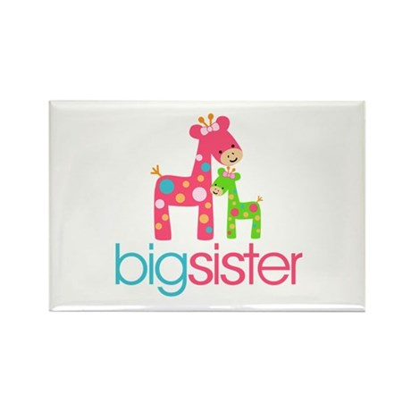 Funky Giraffe Big Sister Rectangle Magnet