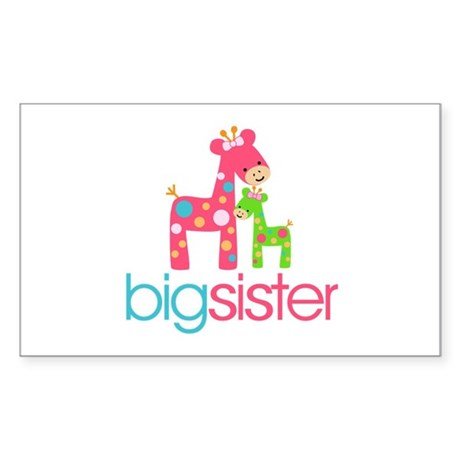 Funky Giraffe Big Sister Sticker (Rectangle)