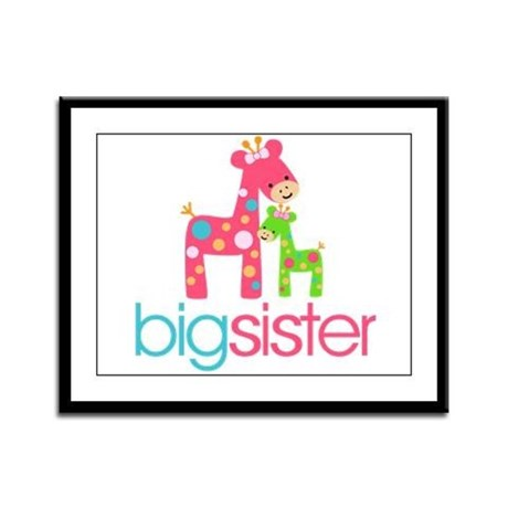 Funky Giraffe Big Sister Framed Panel Print