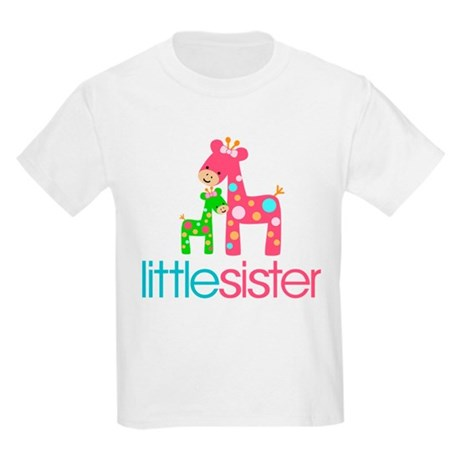 Funky Giraffe Little Sister Kids Light T-Shirt