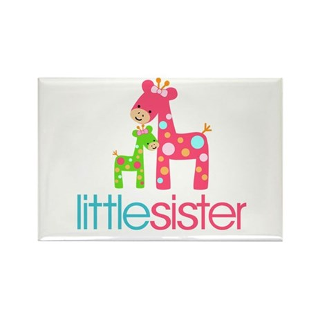 Funky Giraffe Little Sister Rectangle Magnet