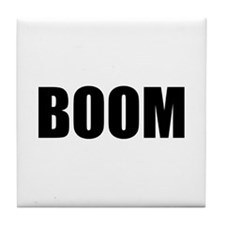 BOOM black-text Tile Coaster