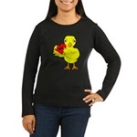 Dad Heart Chick Women's Long Sleeve Dark T-Shirt