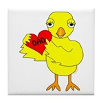 Dad Heart Chick Tile Coaster