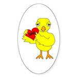 Dad Heart Chick Sticker (Oval 50 pk)