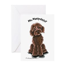Chocolate Labradoodle Manipulate Greeting Card
