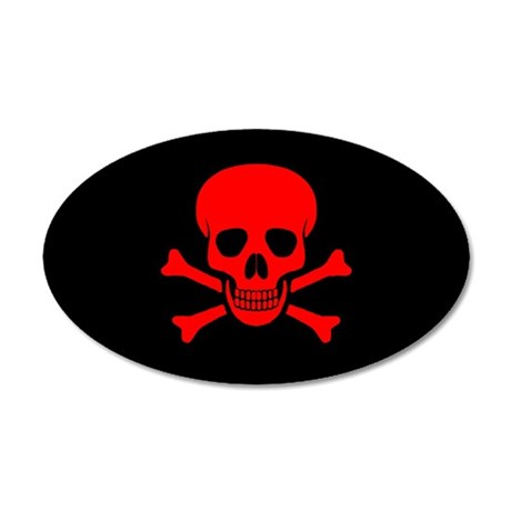 Skull & Crossbones (red) 38.5 x 24.5 Oval Wall Pee