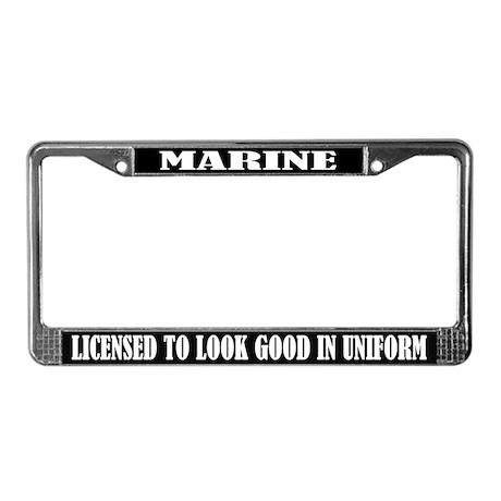 I LOVE MY MARINE heart mom dad girlfriend PARENT License Plate Frame
