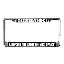 Funny Mechanic License Frame