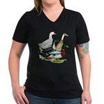 Duck Quartet Women's V-Neck Dark T-Shirt