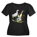 Duck Quartet Women's Plus Size Scoop Neck Dark T-S