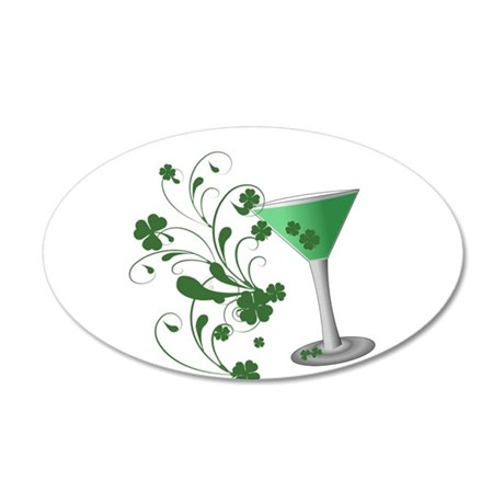 St. Patrick's Day Martini 22x14 Oval Wall Peel