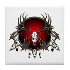 Deer skull with feathers Tile Coaster