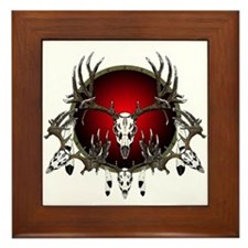 Deer skull with feathers Framed Tile
