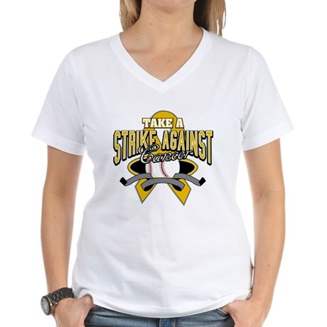 Take Strike Appendix Cancer Women's V-Neck T-Shirt