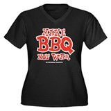 Make BBQ Not War Women's Plus Size V-Neck Dark T-S