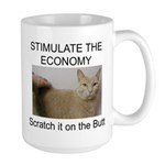 Scratch the economy on the bu Large Mug