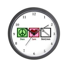 Peace Love Handyman Wall Clock