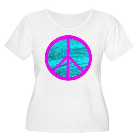 Peace Symbol Pink Women's Plus Size Scoop Neck T-S