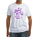Jazz Electric Bass Purple Fitted T-Shirt