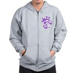 Jazz Electric Bass Purple Zip Hoodie