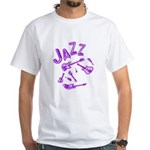 Jazz Electric Bass Purple White T-Shirt