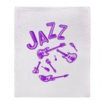 Jazz Electric Bass Purple Throw Blanket