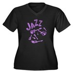 Jazz Electric Bass Purple Women's Plus Size V-Neck