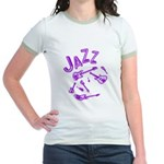 Jazz Electric Bass Purple Jr. Ringer T-Shirt