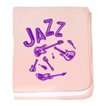 Jazz Electric Bass Purple baby blanket