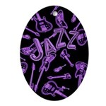Jazz Electric Bass Purple Ornament (Oval)