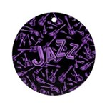 Jazz Electric Bass Purple Ornament (Round)