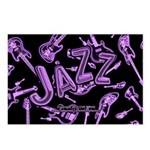 Jazz Electric Bass Purple Postcards (Package of 8)