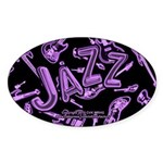 Jazz Electric Bass Purple Sticker (Oval)