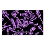 Jazz Electric Bass Purple Sticker (Rectangle)