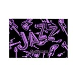 Jazz Electric Bass Purple Rectangle Magnet (100 pa